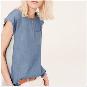 Lou & Grey Chambray Popover Sleeveless Blouse